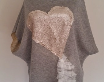 Gold heart  HANDMADE top/UNIQUE top/Extravagant tunic with heart /TOP with handmade application/ Gold application/Gold sequins application