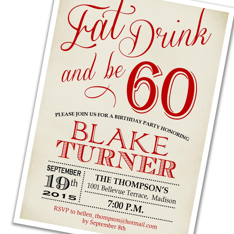 60th Birthday Invitation / 30th 40th 50th 70th 80th 90th / Any Age ...