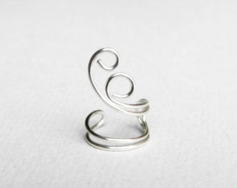 Ear Cuff Silver Ear Wrap Earcuff Swirl Small
