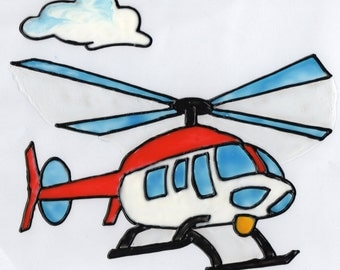 Hand-painted window color window image WiCo removable helicopter for kids (017)