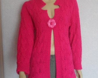 Hand knitted Cardigan.  Original Design Cardigan. Magenta Cardigan.   Size S - M.