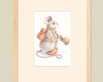 Mouse House Characters, Backpack Mouse Fine Art Print, 11 x 14""
