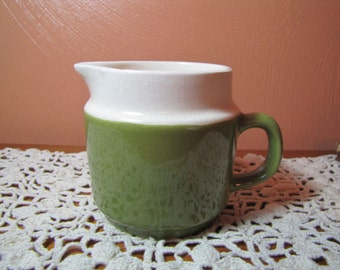 Vintage Green and White Creamer