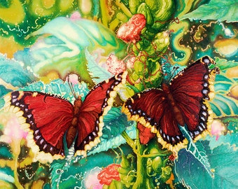 Butterflies, Tropical, Oil Painting, Pigment Print,Limited Edition, Many colors, Magical Image