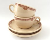 Wallace China Restaurant Ware Cup Saucer Sets, Desert Ware Pattern