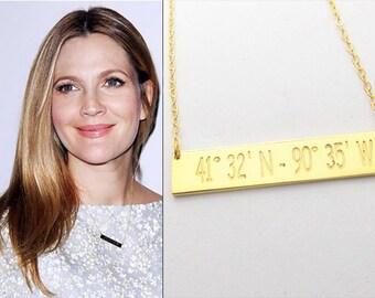 Personalized Latitude Longitude Necklace,Coordinate Bar Necklace,Gold Bar Necklace,GPS Bar Necklace,Initial Bar Necklace,