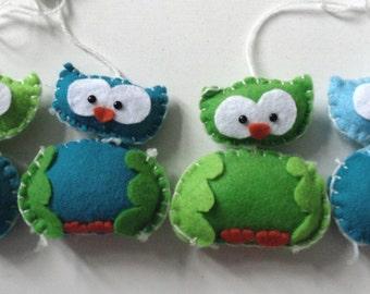 handmade mobile 'owls'