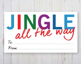 Christmas Tags, Instant download, JINGLE all the way, designer, Chic, Holiday tags, Printable gift tags, instant download