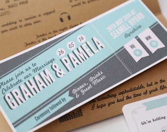 Rustic Recycled Ticket Wedding Invitation Just the