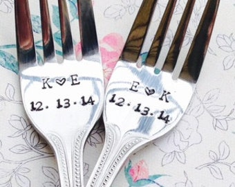 initials/date personalized wedding forks  - new forks – wedding cake fork, wedding gift, engagement gift, bridal shower gift