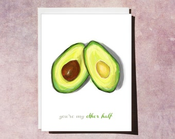 INSTANT DOWNLOAD - Avocado Love Card - Anniversary -  Perfect when you need a card right away!