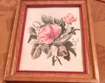 Vintage 1940s  Small Framed Rose Print