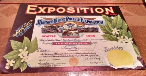 Vintage 1920s Fruit Crate Label Exposition Brand Lemons Sunkist