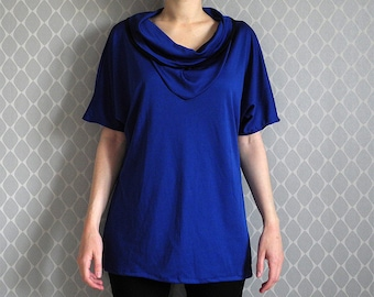 Blue top with slouchy neck