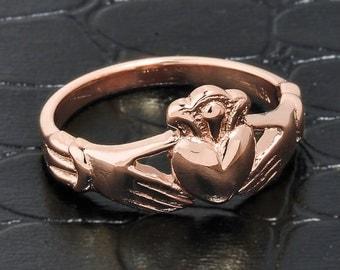 Claddagh Ring, rose gold claddagh ring, claddagh wedding engagement ring, Irish jewelry, pink gold claddagh ring, 14k claddagh wedding band