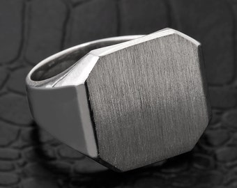 Signet ring, silver signet ring, sterling silver men's signet ring, square signet ring, silver signet men's ring, engravable signet ring