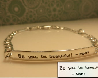 Women's Handwritten Sterling Silver Bracelet, Your Handwriting Personalized Great for any Occasion Bridesmaid