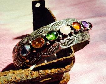 Multistone Native American Navajo Sterling Silver Cuff