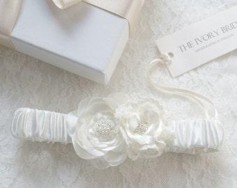 Blossom Ivory satin Garter with flower detailing