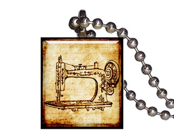 Vintage Sewing Machine - Reclaimed Scrabble Tile Pendant Necklace