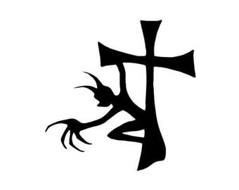 "Demon Devil Cross - Vinyl Decal Sticker - 3.75"" x 3.75"" - 24 Colors - [#0200]"