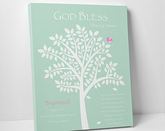 Christening Gift - Baptism Gift - Baby Personalized Print - Name Wall Art for Nursery - Colors & Text are Customizable - SKU#279
