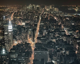 Manhattan at night from Empire State Building. Photographic print 8x10, 11x14