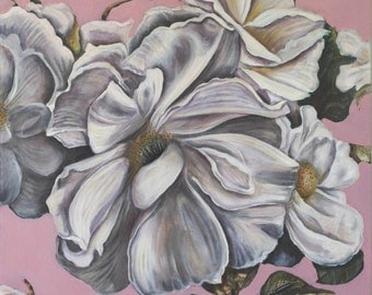 Roses on Pink oil painting on canvas panel original