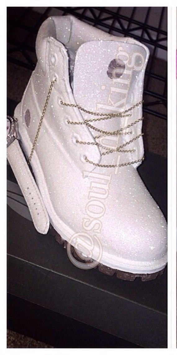 white diamonds custom made timberland boots glitter by