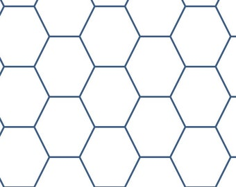 One Inch Hex Game Grid Paper (Blue)