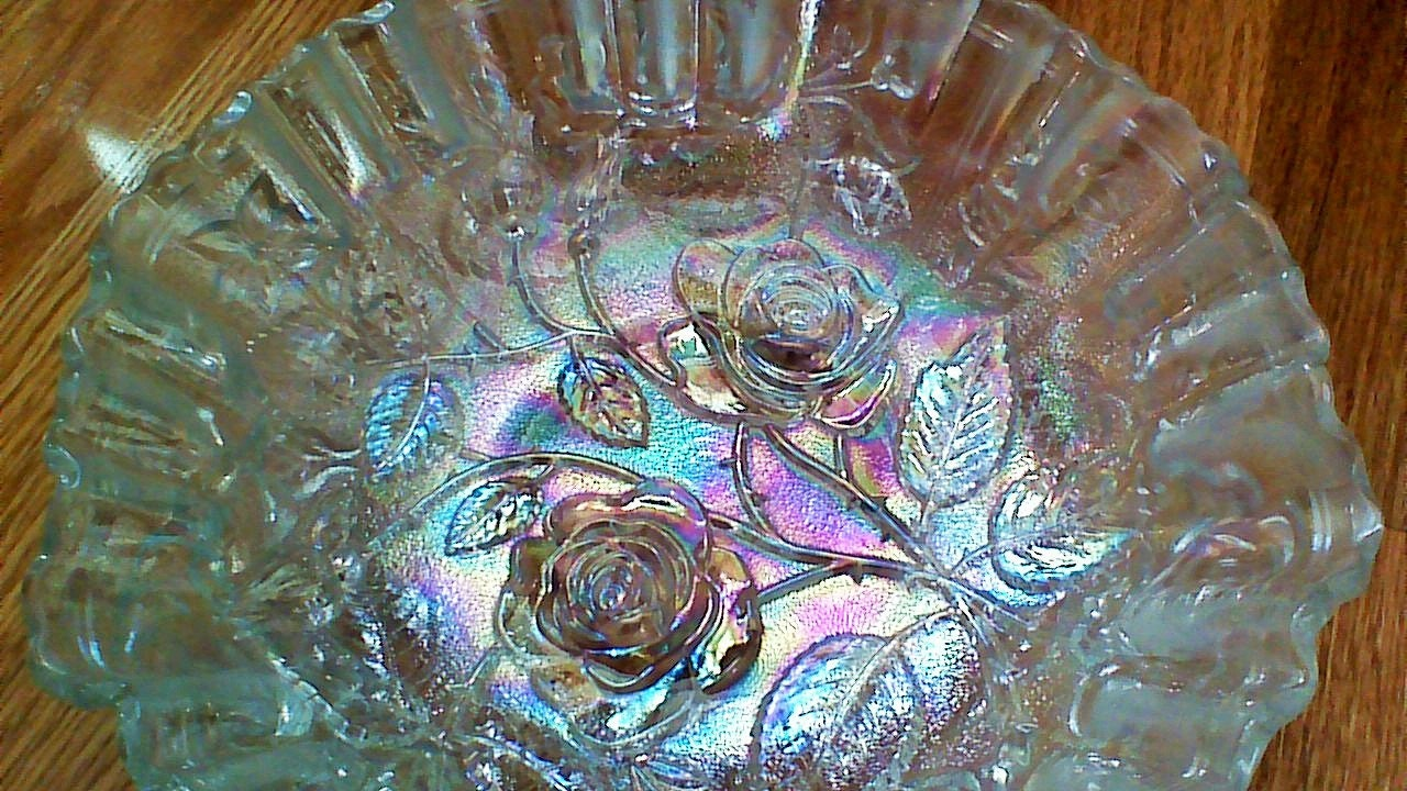 Clear Iridescent Carnival Glass Bowl Imperial By