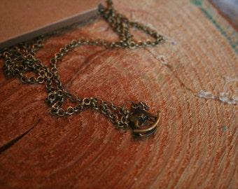 Antique Gold Rocking Horse necklace
