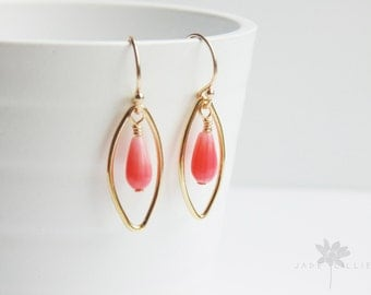 Oval marquise shape 14ct gold filled and pink coral drop dangle hoop earrings