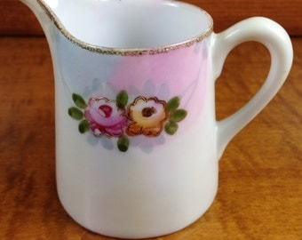 NIPPON Creamer Pitcher ~ Vintage Hand Painted Antique Fancy Creamer ~ Floral Painted China ~ Shabby Chic Dish ~ Coffee Creamer~Table Service