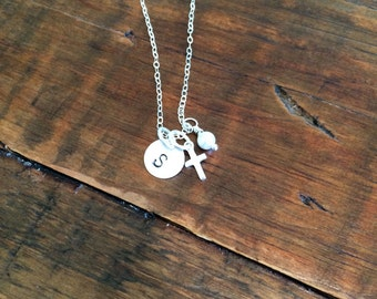 The Sophie Necklace. For confirmation, baptism or everyday. Sterling silver cross, wire wrapped pearl, hand stamped initial charm
