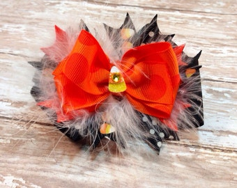 Cutest Lil Candy Corn Halloween Boutique Hair Bow