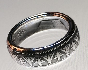 Beautifully Detailed Silver Egyptian Coin Ring
