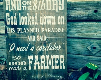 So God made a farmer painted wood sign. Farmer. Fathers Day Gift. Christmas gift.