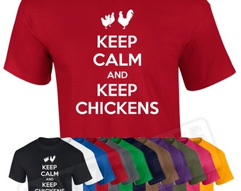 Keep Calm and Keep Chickens T Shirt | Funny hens poultry pets gift farm chooks
