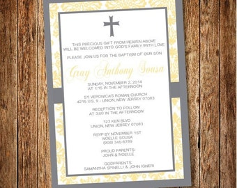Yellow/Grey Baptism Invitation