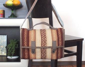Messenger bag - handwoven messenger bag with leather accents - laptop bag, tablet bag