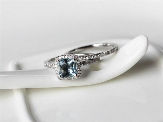 march birthstone ring set6x6mm aquamarine 14k white gold