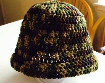 A unique men's beanie hat; camouflage in color