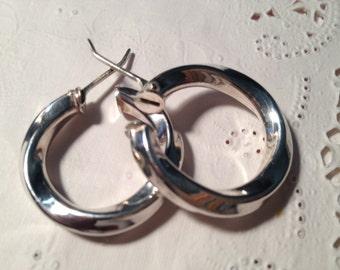 Hollow Sterling Silver Hoop Earrings