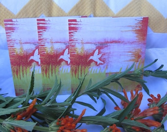 Needing Nectar red and green abstract art bird 3 greeting card pack