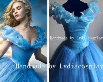 Handmade - Cinderella Dress, New Cinderella Movie Dress, Cinderella Costume, 2015 Cinderella Dress Adult with Hoop Skirt
