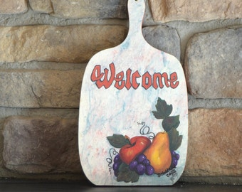 Hand painted kitchen wall decor, wood wall art, painted wood art cheese board, welcome sign