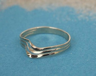 Three Lines Wave Ring, 14K Yellow Gold Plated Ring