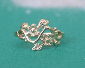 Flowers and Leaves Branch Ring, Floral Ring, 14K Yellow Gold Plated Ring