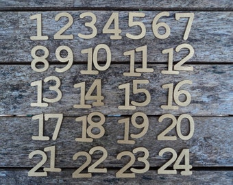 Advent calendar gold wooden numbers set 30mm